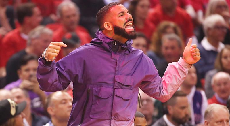 Drake was up to his old tricks during Game 3 of the East Finals between the Toronto Raptors and Milwaukee Bucks at Scotiabank Arena on Sunday night. (Photo by Gregory Shamus/Getty Images)