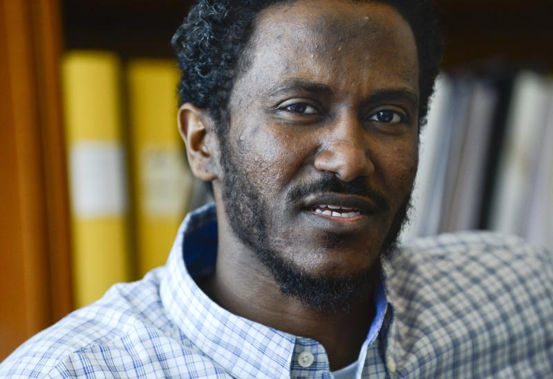 Yonas Fikre, a Portland, Oregon Muslim American talks to media at his lawyer's office in Stockholm, Sweden, April 18, 2012. After a 2010 trip to visit family in Khartoum, Sudan, Fikre claims to have been detained and tortured. Put on a FBI no-fly list, Fikre is now unable to return home to the U.S. (AP Photo / Claudio Bresciani)