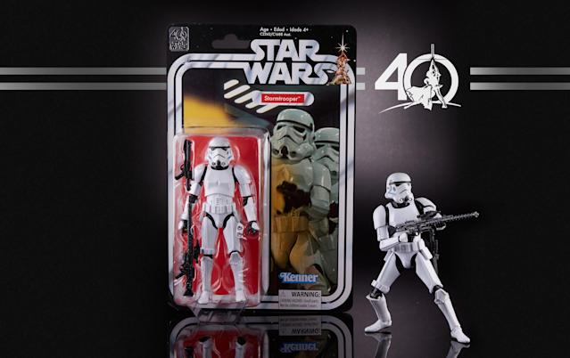 "<p><a href=""https://www.yahoo.com/entertainment/the-first-worst-star-wars-christmas-a-look-182628649.html"" data-ylk=""slk:Forty Christmases ago, kids were stuck getting empty boxes because Star Wars toys weren't available yet"" class=""link rapid-noclick-resp"">Forty Christmases ago, kids were stuck getting empty boxes because <i>Star Wars</i> toys weren't available yet</a>. This year, Hasbro has righted that epic wrong, with these intricately detailed deluxe, fully articulated and accessorized 6-inch versions of the 12 vintage first-wave action figures, complete with throwback packaging.<br><strong>Buy: <a href=""https://starwars.hasbro.com/en-us/product/star-wars-the-black-series-40-th-anniversary-legacy-pack:6B8F7E48-5056-9047-F5FD-C84D1A840FFF"" rel=""nofollow noopener"" target=""_blank"" data-ylk=""slk:Hasbro.com"" class=""link rapid-noclick-resp"">Hasbro.com</a></strong> </p>"