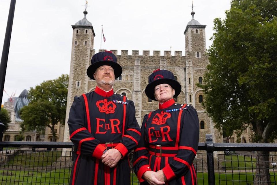 Emma Rousell, from Derby, and Paul Langley, from South Shields, become the newest Yeoman Warders at the Tower of London, taking up the iconic role of 'Beefeater' at the famous landmark after decades of distinguished service in the Royal Air Force (RAF). They join 30 other Yeoman Warders who live and work at the Tower of London, alongside their families (David Parry/PA) (PA Wire)