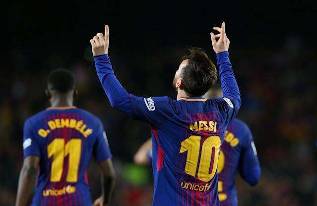 Lionel Messi celebrates scoring one of his three goals for Barcelona against Leganes on Saturday. (Reuters)