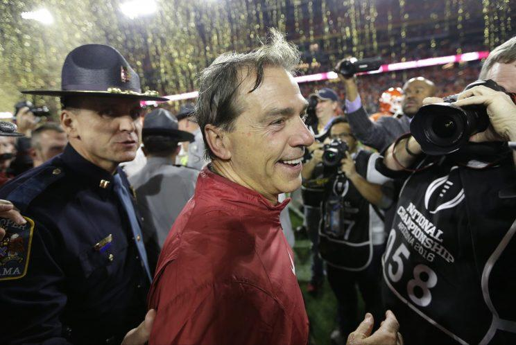 Will Nick Saban win his sixth title this season? The Tide appear unstoppable early this season. (AP)