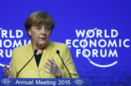 """German Chancellor Merkel makes a speech during the session """"Global Responsibilities in a Digital Age"""" in the Swiss mountain resort of Davos"""