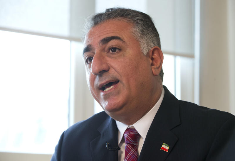 Spokesman of the Iranian National Council Reza Pahlavi, son of toppled Shah of Iran, speaks during an Interview of the Associated-Press in Paris, Thursday May 2, 2013. The Iranian National Council is a new opposition movement based in Paris, aimed at seeking free and fair elections in Iran. (AP Photo/Michel Euler)