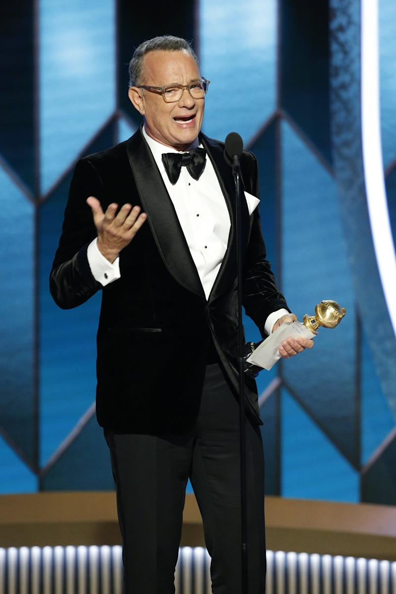BEVERLY HILLS, CALIFORNIA - JANUARY 05: In this handout photo provided by NBCUniversal Media, LLC, Tom Hanks accepts the CECIL B. DEMILLE AWARD onstage during the 77th Annual Golden Globe Awards at The Beverly Hilton Hotel on January 5, 2020 in Beverly Hills, California. (Photo by Paul Drinkwater/NBCUniversal Media, LLC via Getty Images)