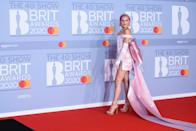 Anne-Marie has gone full-out princess for this year's awards, which even includes wearing a tiara and dying her hair pink. (Getty Images)