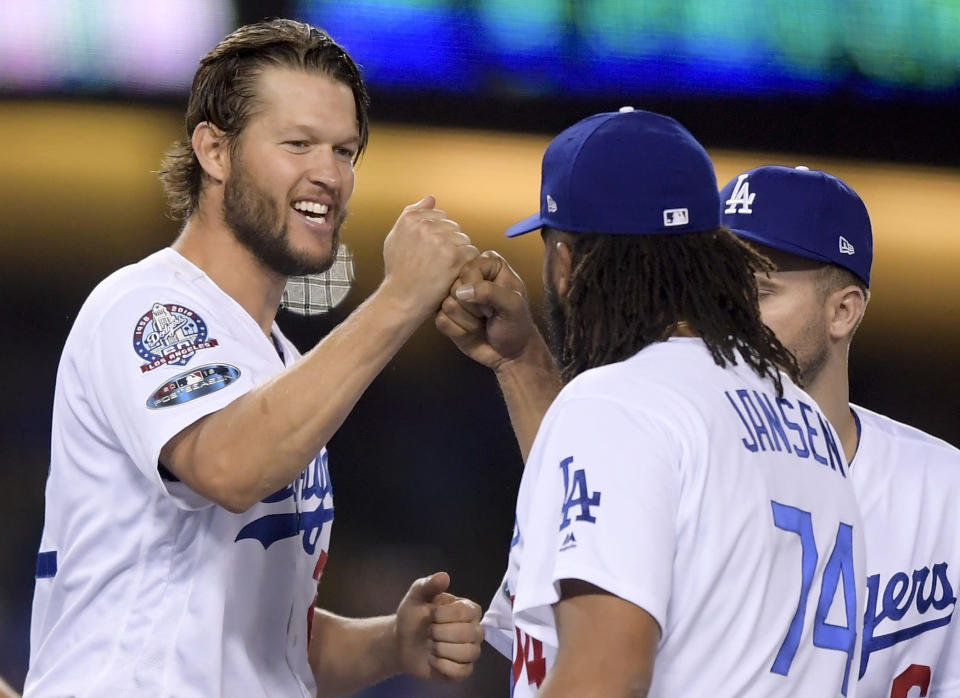 Los Angeles Dodgers pitchers Clayton Kershaw (left) and Kenley Jansen are doing all they can to snap the franchise's 30-year World Series drought. (AP)