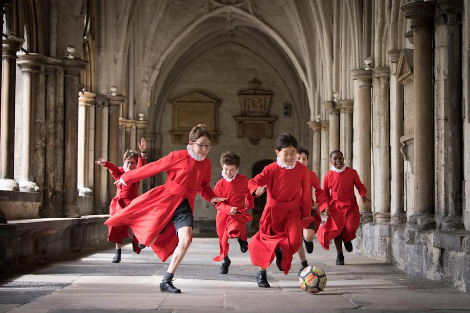 Westminster Abbey Choristers take a break from school lessons to play football in the cloisters of the famous London cathedral (PA Wire)