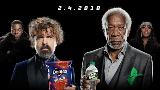 Peter Dinklage and Morgan Freeman, along with Busta Rhymes and Missy Elliott, in the Super Bowl Doritos Blaze vs. Mountain Dew Ice rap battle. (Photo: Courtesy of PepsiCo)