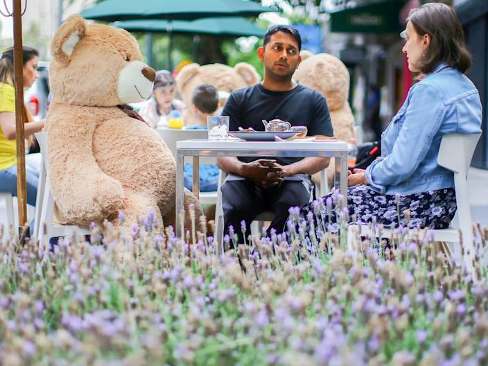 """Teddy bears are located on the tables to maintain social distancing measures at Jaso Bakery restaurant in Mexico City on July 23, 2020. <p class=""""copyright"""">REUTERS/Edgard Garrido TPX IMAGES OF THE DAY</p>"""