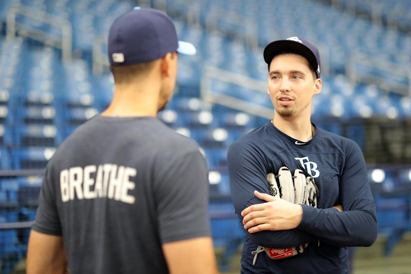 ST. PETERSBURG, FL - SEPTEMBER 05: Blake Snell #4 of the Tampa Bay Rays during batting practice before the game against the Toronto Blue Jays at Tropicana Field on Thursday, September 5, 2019 in St. Petersburg, Florida. (Photo by Mike Carlson/MLB Photos via Getty Images)