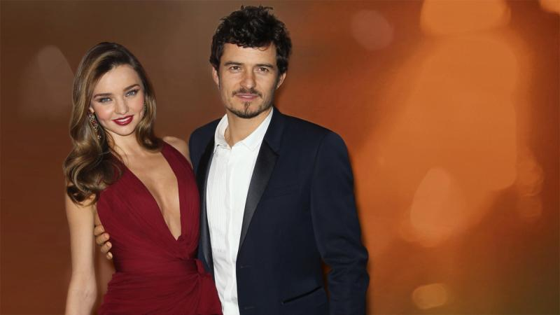 Miranda Kerr and Orlando Bloom (l-r), as husband and wife, partial graphic