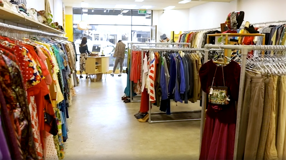 Inside Swop second hand sustainable clothing store
