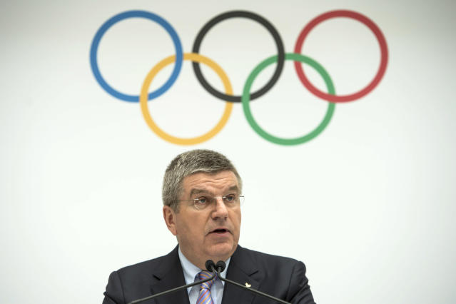 IOC President Thomas Bach of Germany speaks during the announcement of the 2022 Olympic Winter Games host candidates. (AP)