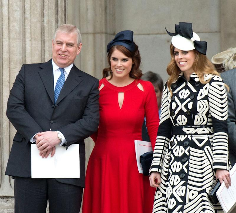 Prince Andrew, Princess Eugenie and Princess Beatrice | Zak Hussein/Corbis/Getty