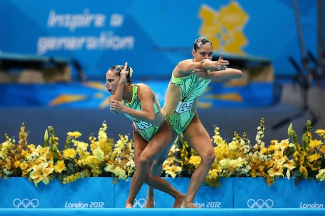 Pamela Fischer and Anja Nyffeler of Switzerland compete in the Women's Duets Synchronised Swimming Technical Routine on Day 9 of the London 2012 Olympic Games at the Aquatics Centre on August 5, 2012 in London, England. (Photo by Al Bello/Getty Images)