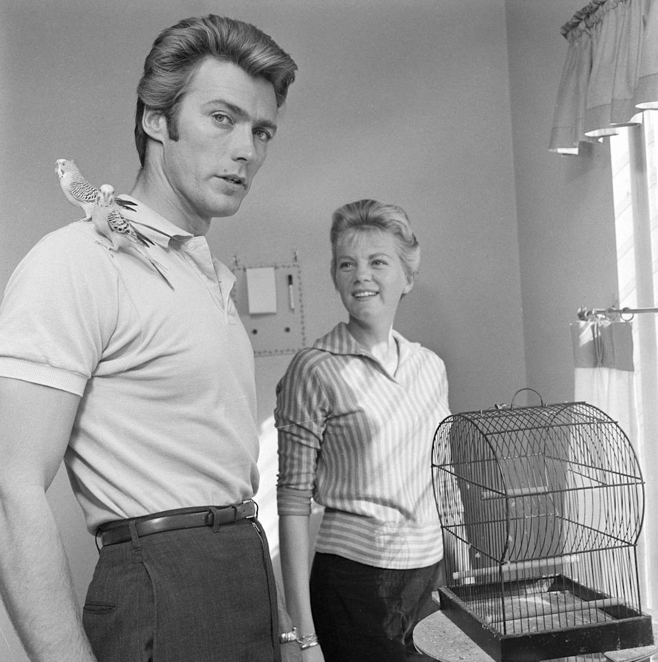 <p>Clint Eastwood had just landed his big break as Rowdy Yates on CBS's <em>Rawhide</em> when he gave fans a glimpse at his life at home with his first wife, Maggie Johnson, and his two pet Parakeets.  </p>