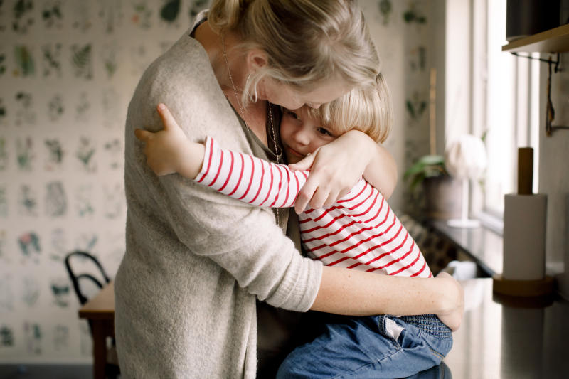 A hug from mum and dad really is the best way of reassuring a child