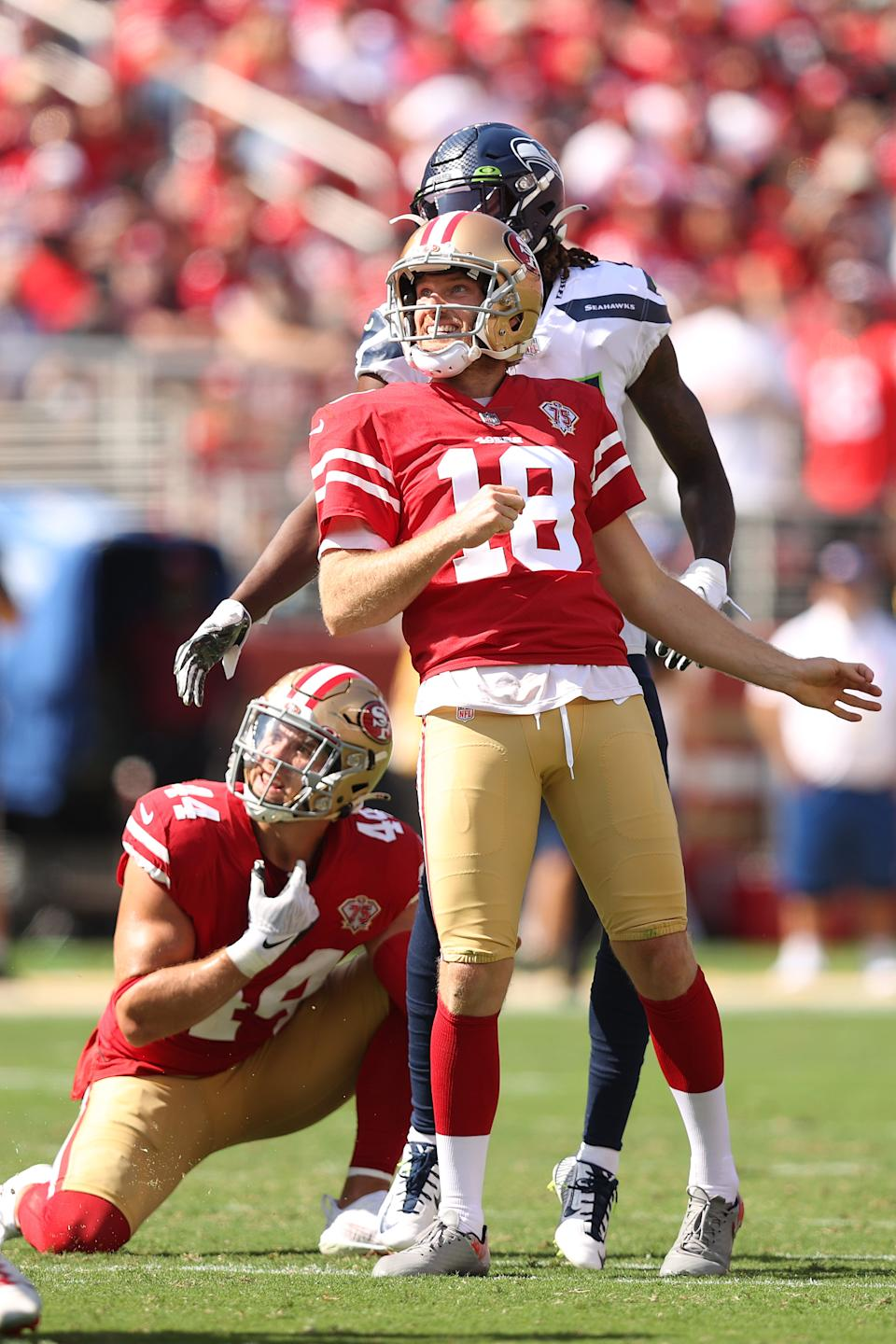 Mitch Wishnowsky (pictured) misses a field goal attempt during the second quarter against the Seattle Seahawks at Levi's Stadium on October 03, 2021 in Santa Clara, California.