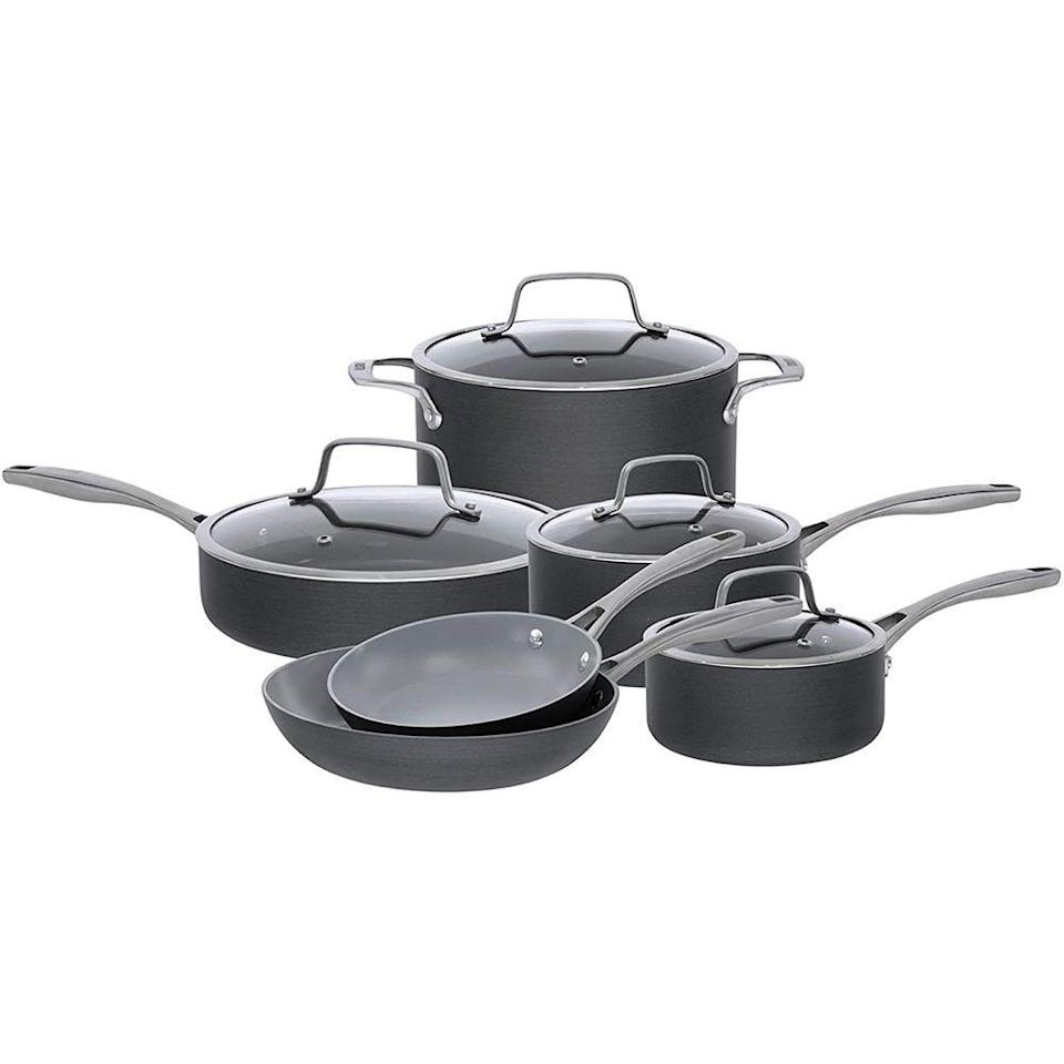 """<p><strong>Bialetti</strong></p><p>amazon.com</p><p><strong>$175.23</strong></p><p><a href=""""https://www.amazon.com/dp/B016MFS102?tag=syn-yahoo-20&ascsubtag=%5Bartid%7C2089.g.36385320%5Bsrc%7Cyahoo-us"""" rel=""""nofollow noopener"""" target=""""_blank"""" data-ylk=""""slk:Shop Now"""" class=""""link rapid-noclick-resp"""">Shop Now</a></p><p>A top choice for both <a href=""""https://www.saveur.com/shop/best-ceramic-cookware"""" rel=""""nofollow noopener"""" target=""""_blank"""" data-ylk=""""slk:Saveur"""" class=""""link rapid-noclick-resp""""><em>Saveur</em></a> and <a href=""""https://www.thespruceeats.com/best-ceramic-cookware-sets-4140142"""" rel=""""nofollow noopener"""" target=""""_blank"""" data-ylk=""""slk:The Spruce Eats"""" class=""""link rapid-noclick-resp"""">The Spruce Eats</a>, this 10-piece ceramic cookware set from Bialetti gets our vote for the best budget cookware set. Hard anodized aluminum enables superior heat distribution, while a nontoxic ceramic finish provides a nonstick, smooth cooking surface that won't trap food particles.</p><p>Included in this set are an 8- and 10-inch sauté pan, a 1.5- and 3-quart sauce pan with lid, a 3-quart sauce pan with lid, a 3-quart deep sauté pan with lid, and a 6-quart Dutch oven with lid. This cookware is safe for both gas and glass stovetops, but it does require hand-washing. </p>"""