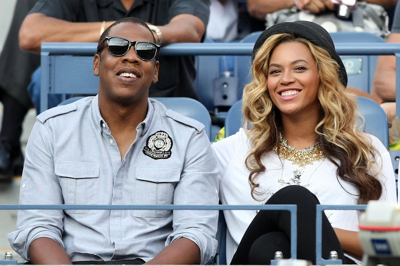 NEW YORK, NY - FILE:  Recording artists Jay-Z and Beyonce watch Rafael Nadal of Spain and Novak Djokovic of Serbia play during the Men's Final on Day Fifteen of the 2011 US Open at the USTA Billie Jean King National Tennis Center on September 12, 2011 in the Flushing neighborhood of the Queens borough of New York City.  Singer Beyonce and rapper Jay-Z welcomed a baby girl on January 7, 2011 in New York. (Photo by Al Bello/Getty Images)