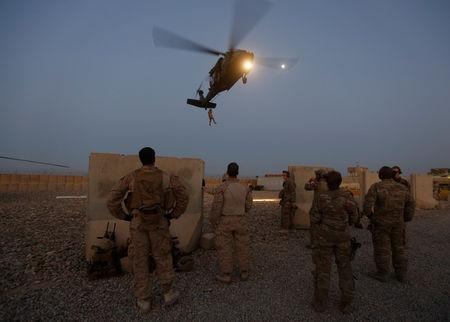 FILE PHOTO: U.S. troops take part in a helicopter Medevac exercise in Helmand province