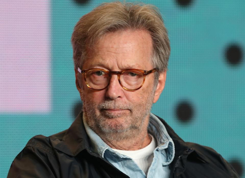 Eric Clapton attends a press conference to promote the film