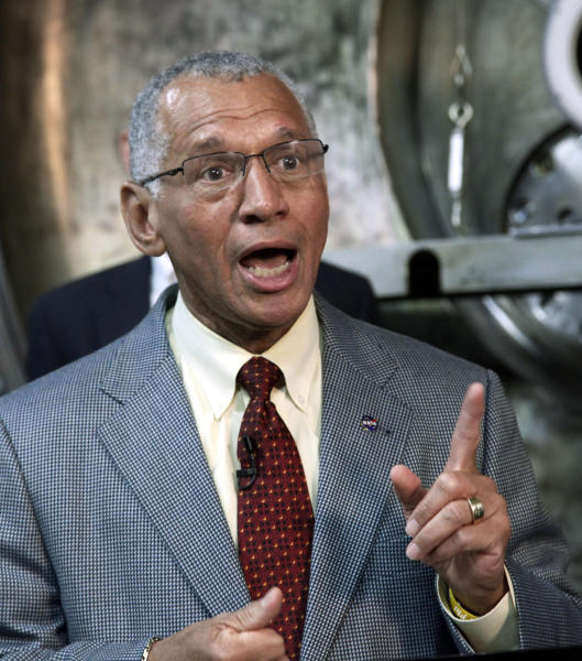 NASA Administrator Charles Bolden speaks during a visit to the Jet Propulsion Laboratory in Pasadena, Calif., Thursday, May 23, 2013. NASA engineers are developing an ion engine for an asteroid capture mission later this decade. (AP Photo/Nick Ut)