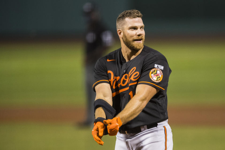 BOSTON, MA - JULY 24: Chris Davis #19 of the Baltimore Orioles reacts after striking out during the game between the Baltimore Orioles and the Boston Red Sox at Fenway Park on Friday, July 24, 2020 in Boston, Massachusetts. (Photo by Adam Glanzman/MLB Photos via Getty Images)