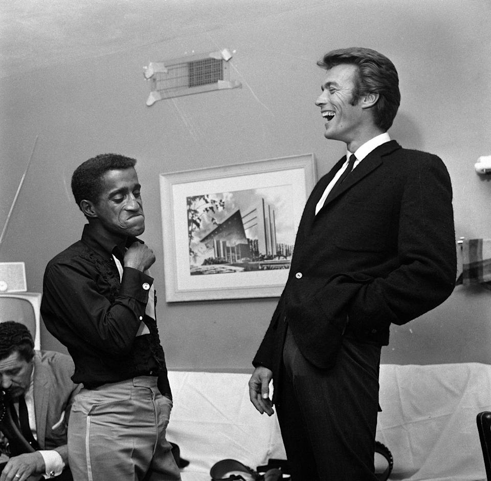 <p>Sammy Davis Jr. and Clint Eastwood at the Sands hotel in 1959. Davis was instrumental in bringing a change in racial policy at the Sands.</p>