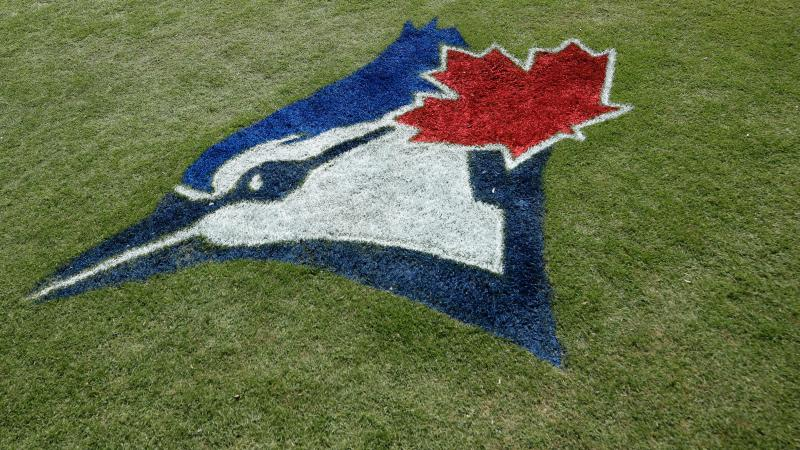 DUNEDIN, FL - FEBRUARY 24: General view of the Toronto Blue Jays logo painted in the grass prior to a Grapefruit League spring training game against the Atlanta Braves at TD Ballpark on February 24, 2020 in Dunedin, Florida. (Photo by Joe Robbins/Getty Images)