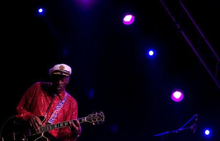 FILE PHOTO - Rock and roll legend Chuck Berry performs during a concert in Santa Cruz de Tenerife, Canary Islands, March 28, 2008. REUTERS/Santiago Ferrero/File Photo