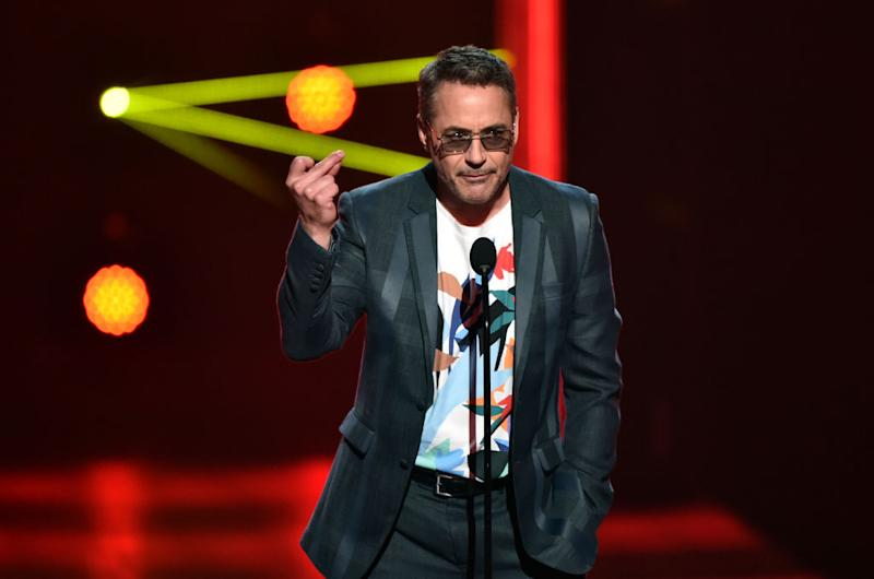 SANTA MONICA, CALIFORNIA - NOVEMBER 10: 2019 E! PEOPLE'S CHOICE AWARDS -- Pictured: Robert Downey Jr. speaks on stage during the 2019 E! People's Choice Awards held at the Barker Hangar on November 10, 2019 -- NUP_188997 (Photo by: Alberto Rodriguez/E! Entertainment/NBCU Photo Bank)