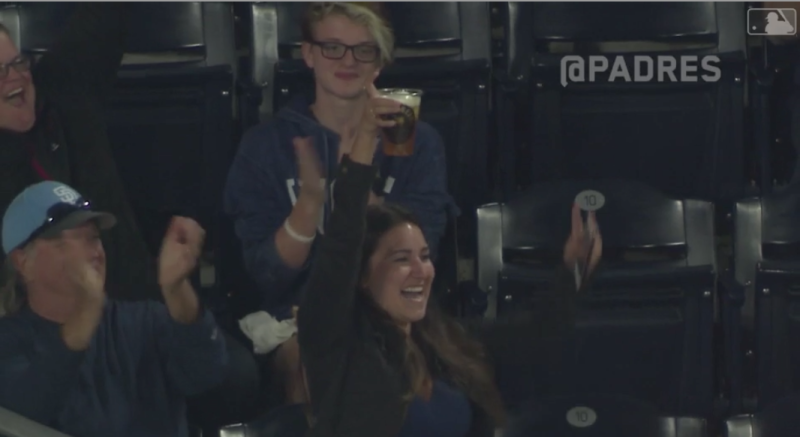Woman catches baseball in beer cup during San Diego Padres game