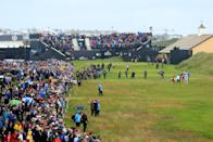 The group of Rory McIlroy of Northern Ireland, Paul Casey of England & Gary Woodland of the United States walk down the 1st tee during the first round of the 148th Open Championship held on the Dunluce Links at Royal Portrush Golf Club on July 18, 2019 in Portrush, United Kingdom. (Photo by Andrew Redington/Getty Images)