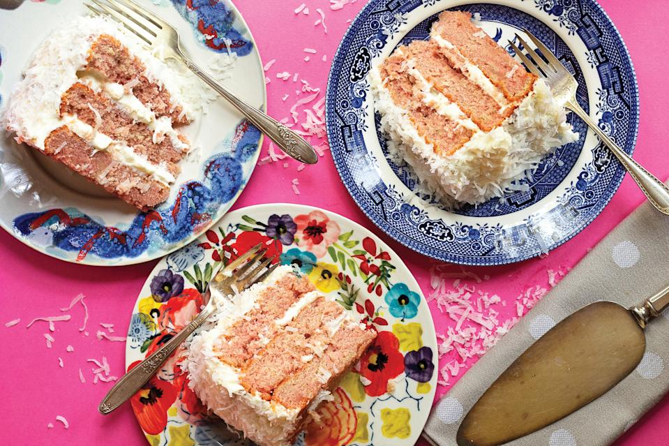 "Classic <a href=""https://www.epicurious.com/recipes/food/views/classic-coconut-cake-364149?mbid=synd_yahoo_rss"" rel=""nofollow noopener"" target=""_blank"" data-ylk=""slk:coconut cake"" class=""link rapid-noclick-resp"">coconut cake</a> is always pretty, but this pink-layered version, made with puréed fresh strawberries, is a real summer stunner. <a href=""https://www.epicurious.com/recipes/food/views/strawberry-coconut-cake?mbid=synd_yahoo_rss"" rel=""nofollow noopener"" target=""_blank"" data-ylk=""slk:See recipe."" class=""link rapid-noclick-resp"">See recipe.</a>"