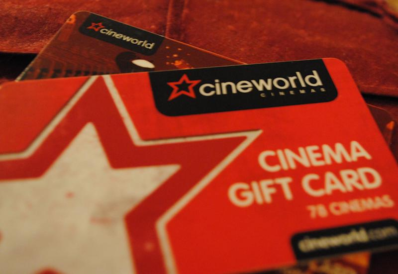 The Cineworld logo displayed on Cineworld gift cards