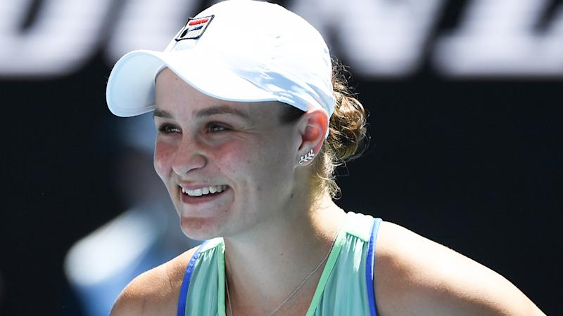 Ash Barty, pictured at the Australian Open, notched several interesting milestones in her quarter-final win over Petra Kvitova.