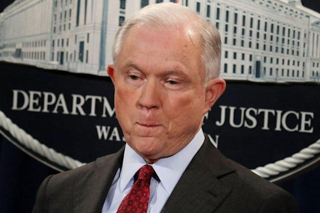 Attorney General Jeff Sessions appears at a news conference at the Department of Justice last week. (Chip Somodevilla/Getty Images)