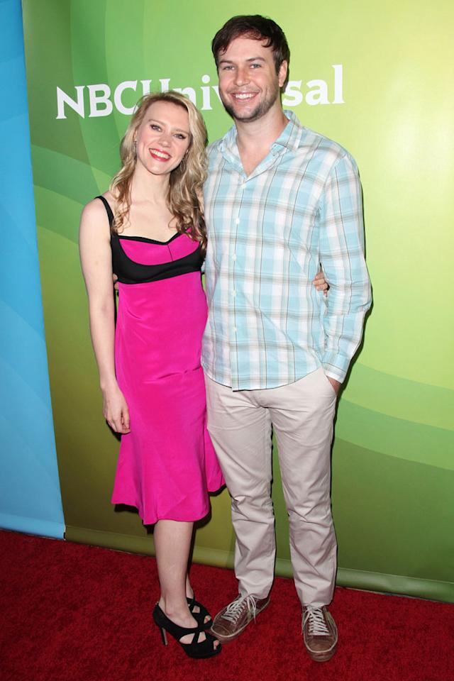 "Kate McKinnon and Taran Killam (""Saturday Night Live"") attend the 2013 NBC Universal Summer Press Day held at The Langham Huntington Hotel and Spa on April 22, 2013 in Pasadena, California."