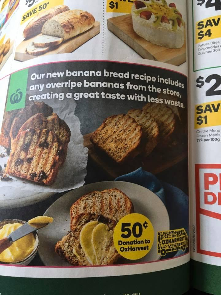 Overripe bananas are being used to make Woolworths banana bread, the supermarket said. Source: Facebook