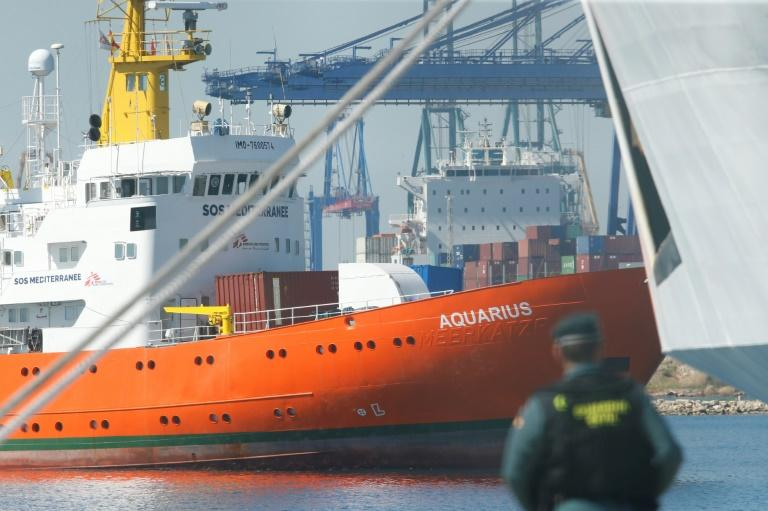 The Aquarius rescue ship enters the port of Valencia on June 17, 2018