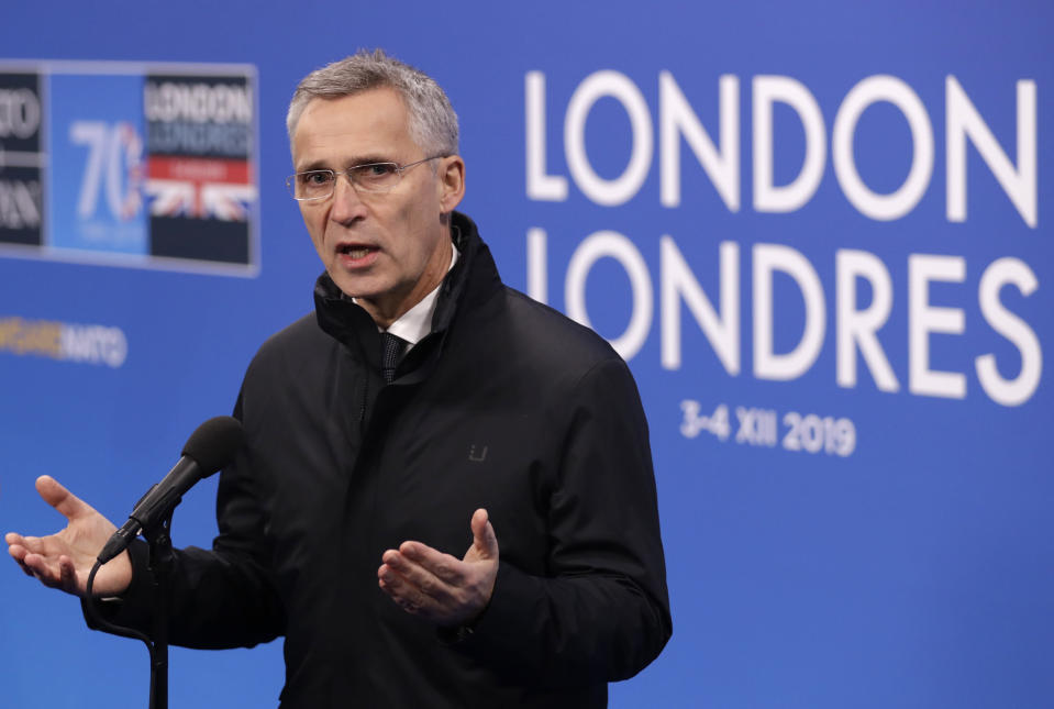 NATO Secretary General Jens Stoltenberg gives a statement prior to the arrival of NATO leaders meeting at The Grove hotel and resort in Watford, Hertfordshire, England, Wednesday, Dec. 4, 2019. As NATO leaders meet and show that the world's biggest security alliance is adapting to modern threats, NATO Secretary-General Jens Stoltenberg is refusing to concede that the future of the 29-member alliance is under a cloud. (AP Photo/Matt Dunham)