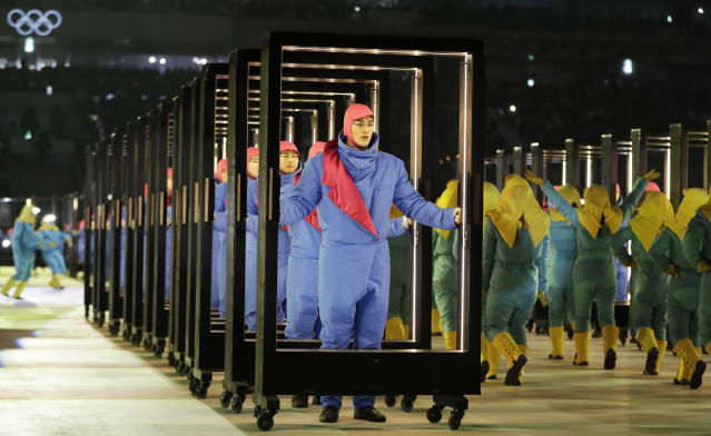 <p>Performers participate during the opening ceremony of the 2018 Winter Olympics in Pyeongchang, South Korea, Friday, Feb. 9, 2018. (AP Photo/Petr David Josek) </p>