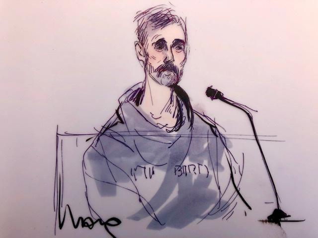 Loughlin's husband, Mossimo Giannulli, was also arrested on Tuesday and was sketched by Edwards. (Image: Mona Shafer Edwards /Reuters)