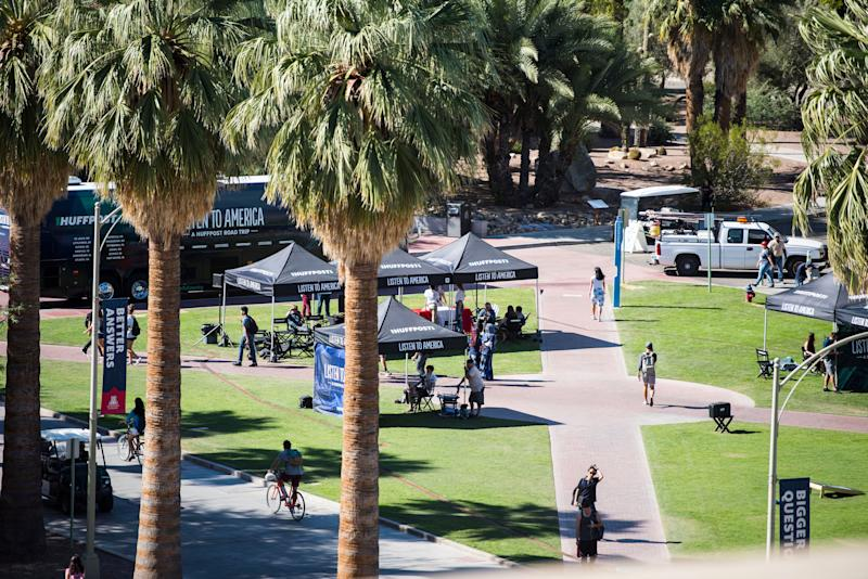 "People visit the ""Listen to America"" tents at the University of Arizona."