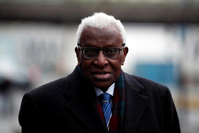 Former President of International Association of Athletics Federations (IAAF) Lamine Diack arrives for his trial at the Paris courthouse