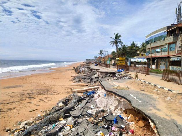 The current state of the lone road that connects the domestic terminal of Thiruvananthapuram airport with the city. The view is from Shangumukham beach.
