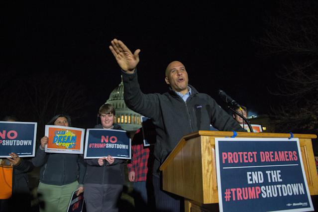 Sen. Cory Booker at a rally outside in Washington last January. (Photo: Tasos Katopodis/Getty Images)