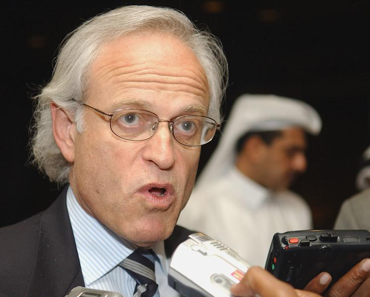 FILE - In this April 11, 2005 file photo, Martin Indyk speaks in Doha, Qatar. U.S. officials say Secretary of State John Kerry will name former U.S. ambassador to Israel Martin Indyk to shepherd Israeli-Palestinian peace talks that begin Monday in Washington. (AP Photo, File)